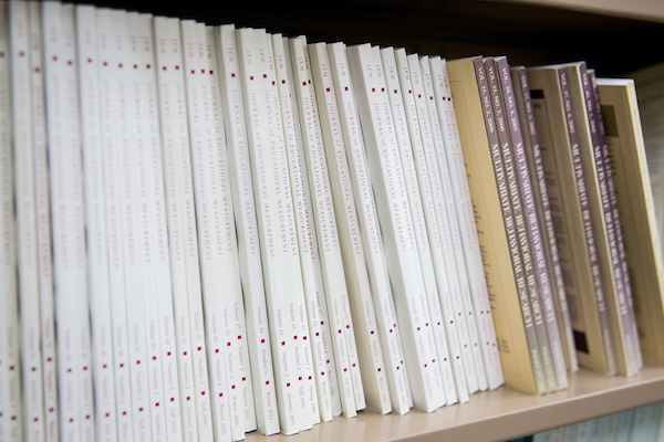 journals on a shelf